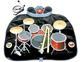 Rock 'N' Roll Electronic Drum Mat Portable Electronic Drum Pad Creative Electronic Drum Kit Set Floor Fun Play Mat Amazing Gifts for Boys & Girls With Drumsticks Headphone and Micr