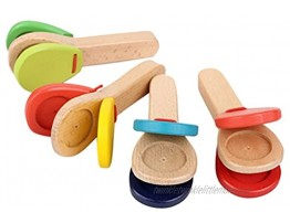 ROSENICE Wooden Castanet Clapper Educational Musical Percussion Random Color