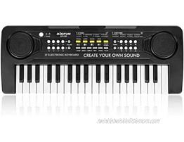 BIGFUN Kids Keyboard Piano 37 Key Multifunction Mini Musical Piano Keyboard Toys for Over 3 Year Old Boys and Girls Black