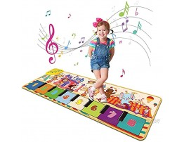 Fivegoes Piano Mat for Kids 43 X 14 Electronic Touch Musical Play Mat with 8 Cartoon Animal Sounds Colorful Dance Music Mat Floor Keyboard Educational Learning Toys Gift for Boys and Girls