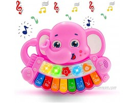 Ynanimery Baby Musical Toys Baby Piano Toy for Infants Toddlers Musical Elephant Piano Keyboard Learning Toy with 8 Keys & Animals Sounds & Led Lights for 18+ Months 2 3 4 Years Old Boys Girls