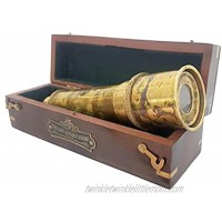 Brass Nautical Ship Captain's Working Telescope   Brass Made Spyglass   Glass Optics & High Magnification   Pirate's Instrument   Camouflage Finish   18in Long   1 Pc in Free Hardwood Box   Handheld