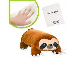 """MEMORY MATES Lynn The Sloth Memory Foam Pillow Plush with Kid's Diary That Stores in Belly Pocket 15"""" Stuffed Animal 6 Journal"""