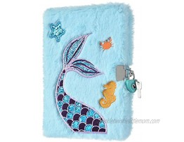 WERNNSAI Plush Mermaid Notebook A5 Glitter Journal Mermaid Diary for Girls Gift School Office Travel Hardcover Notebooks Kids Writing Drawing Embroidery Notepad with Locks and Keys