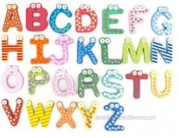 Bonamart Magnetic Letters Fridge ABC Alphabet Magnets for Toddlers Baby Wooden Refrigerator Large Magnet Letter Learning Games Wood Toys for Kindergarten Age 2018 Aug Upgraded