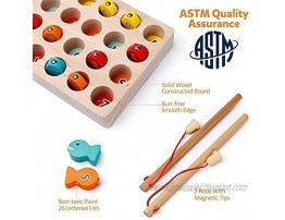 Coogam Wooden Magnetic Fishing Game with 2 Pole + Wooden Pattern Blocks Games for 2 3 4 5 Years Old Kid Toddler