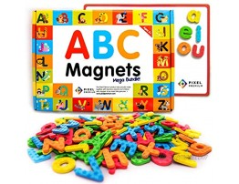 Pixel Premium Magnetic Letters for Kids 142 ABC Alphabet Magnets for Preschool Letter Magnets with White Magnetic Board Educational Fridge Magnets for Kids Refrigerator or Classroom