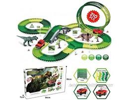 Little Bado 210 Piece DIY Dinosaur Toys Race Track Assemble Roller Coaster Flexible Track Playset Dinosaurs  Bridge Ramps and Race Car Toys – Prehistoric Race Track for Boys Kids Toddlers Age 3-5