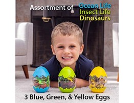 Next Milestones Easter Egg Toys for Toddlers 3 Pack with 12 Assorted Realistic Insect Ocean Life and Dinosaur Toy Figures Each Learning Kids Toy Set with Trees and Rocks for Boys and Girls