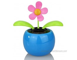 REXI Eco-Friendly Solar Dancing Flowers in Colorful Pots. Decoration Gift. No Battery Required Car Dashboard Ornaments Swinging ToyBlue