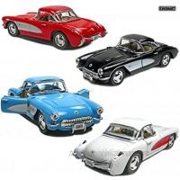 Set of 4: 5 1957 Chevy Corvette 1:34 Scale Black Blue Red White by Kinsmart