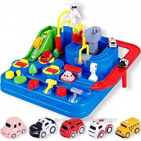 YEZI Car Adventure Toys City Rescue Preschool Educational Toy Vehicle Parent-Child Interactive Racing Kids Toy Puzzle Car Race Tracks Parking Playsets for 3 4 5 6 7 8 Year Old Toddlers Boys Girls