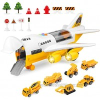 BAZOVE Car Toys Set with Transport Cargo Airplane Mini Educational Vehicle Construction Car Set for Kids Toddlers Boys Child Gift for 3 4 5 6 Years Old 6 Cars 1 Large Plane 11 Road Signs(Yellow)…