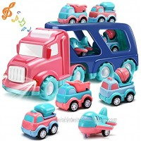 Transport Car Carrier Truck Set with Light and Sound 5 in 1 Pink Double Deck Container Truck with 4 Mini Cartoon Pull Back Vehicle Construction Car Gift Toy for Girl Toddler Kid Christmas Birthday