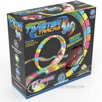 Mindscope Twister Tracks Trax 360 Loop 13' feet of Neon Glow in The Dark Track with One LED Light-Up Race Series Car