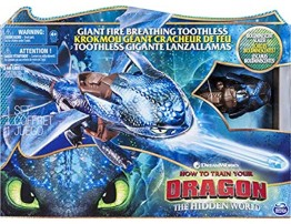Dreamworks Dragons Giant Fire Breathing Toothless 20-inch Dragon with Fire Breathing Effects and Bioluminescent Colour for Kids Aged 4 and Up Styles Vary