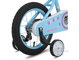 CYCMOTO Flower Girls Bike for Toddlers and Kids with Basket & Bell 14 & 16 Kids Bike with Training Wheels for Age 3-6 Years Child Blue Purple Teal Pink