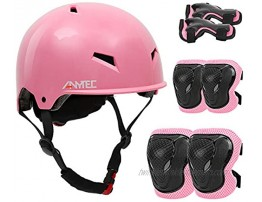 Kids' Helmet Sports Protective Gear Set with Knee Pads Elbow Pads and Wrist Guards for Girls Ages 3-8 Adjustable Child Bike Skateboard Cycling Scooter Helmet Pad Set Pink
