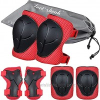 Kids Kneepads and Elbow Pads Knee Pads for Kids Knee and Elbow Pads Skateboard Knee Pads and Elbow Pads for Kids 3-8 Kids Knee Pads Set 6 Pcs Bike Protective Gear Kids Scooter Cycling Skating Red