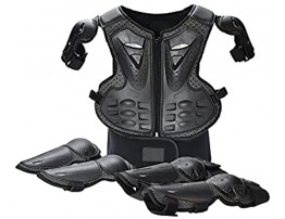 OUZHOU Children's Motorcycle Armor Children's Bicycle Protective Clothing Jackets Adjustable Breathable Chest Protection Vest with Elbow-Knee Pads Parent-Child Sports Safety Armored Protection