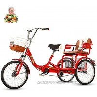 Adult Tricycle 20'' 3 Wheels for The Elderly Folding Tricycle Ladies Bicycles Enlarge The Back seat Pick up Children Grocery Shopping Outing