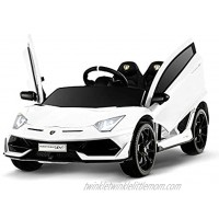 12V Kids Electric Ride On Car Motorized Vehicles with Wheels Suspension,Battery Powered Remote Control Music Horn LED Lights White