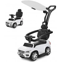 Costzon 3 in 1 Ride on Push Car Licensed Volvo Ride on Toy for Kids Toddler Stroller w Sun Canopy Safety Bar Parental Handle Horn Music Sliding Walking Car Gift for Boys & Girls White