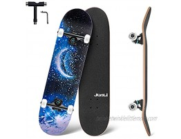 Junli Standard Skateboards 32 Inch Complete Skateboard for Kids and Adults 7 Layer Canadian Maple Double Kick Concave Skate Board and Tricks Skateboards for Teens