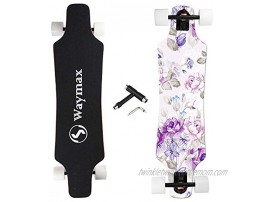 Longboard Skateboard Complete 31 Inch Pro Small Longboard for Hybrid Freestyle Carving Cruising and Downhill with All-in-one T-Tool