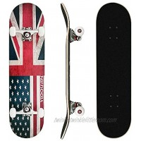MammyGol Skateboards 31''x 8'' Complete Skateboard Cruiser 9 Layer Canadian Maple Double Kick Concave Standard and Tricks Skateboards for Beginner and Pro