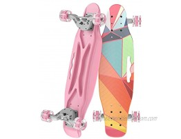 OLEIO Mini Cruiser Skateboard 23.2 Inches Plastic Mini Classic Skateboard,with Bendable Deck and Smooth Colorful PU Wheels,Cruiser Board for Kids Boys Girls Youth Beginners