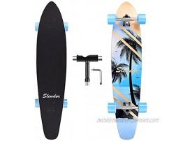 Slendor 42 Inch Longboard Skateboard Complete Cruiser Pintail Drop Through Deck Skateboardfor Cruising Carving Downhill