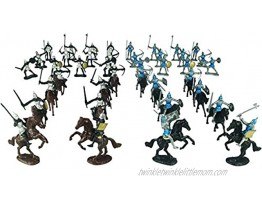 TYCBOY 56 Pieces Colorful Middle Ages Military Figures Soldier Knight Horses Army Toys Set Infantry Archer Warriors Sword&Shield Swordman Archaic Soldiers Medieval Soldiers Model 56pcs Colorful