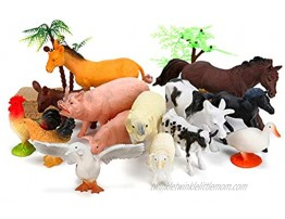 Farm Animals Figures Toys 26PCS Realistic Jumbo Plastic Farm Figurines Playset Includes Fences Learning Educational Toys for Boys Girls Toddlers Bath Cupcake Topper Birthday Set