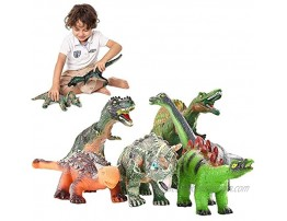JOYIN 6 Pack 12'' to 14'' Educational Realistic Jumbo Dinosaur Figures Toy Set for Party Gift with Dinosaur Booklet