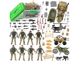 Military Army Special Forces Action Figures Soldiers Vehicles & Accessories Military Toy Combat Mega Playset in Storage Bucket 75 Pieces