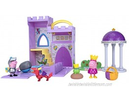 Peppa Princess Fort Adventure Playset 8 Inch Expandable Playset with Carry Handle Including Character Toy Princess and Frog Picnic Basket Sir George Knight Dragon and Catapult Accessories