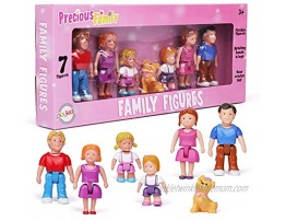 Playkidz Family Figures Small Play People 7 Figurines Set  Parents Sibling and Pet -Early Development Play Figure Toy for Children STEAM Learning Toys Children Ages 3+