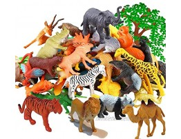 Safari Plastic Animals Figures Toys-53 Piece Mini Realistic Wild Vinyl Zoo Jungle Animal Toy Set Learning Party Favors Toys for Boys Girls Kids Toddlers Forest Small Animals Playset Cupcake Topper