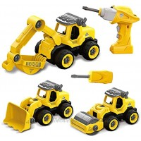 Fisca Take Apart Toys with Electric Drill Remote Control 3 in 1 Construction Vehicles Set STEM Building Toy for Kids Age 3 4 5 6 and Up Year Old