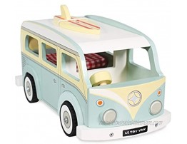 Le Toy Van Cars & Construction Pretend Play Retro Wooden Holiday Campervan Toy Vintage Classic Style Play Set With Detachable Surfboard | Boys Play Vehicle Role Play Toys Suitable For 3 Year Old +