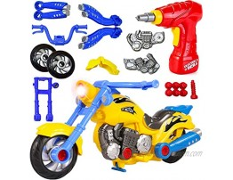 Liberty Imports Kids Take Apart Toys Build Your Own Toy Motorcycle Vehicle Construction Playset Realistic Sounds and Lights with Tools and Power Drill Motorcycle