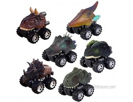 Pull Back Dinosaur Cars Set of 6 Dino Cars Toys with Big Tire Wheel for 3-14 Year Old Boys Girls Creative Gifts for Kids.